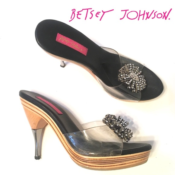 5775dc9d5a44f Betsey Johnson Shoes - BETSEY JOHNSON Rare! Polly Rhinestone Heels Mules